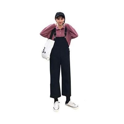 Alhyla レディース オーバーオール デニム サロペット ロング 9分パンツ 着痩せ ゆったり 無地 森ガール カジュア