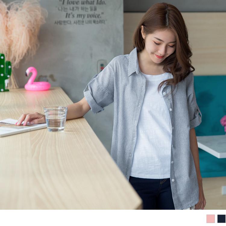 棉感假兩件直條紋襯衫短袖上衣