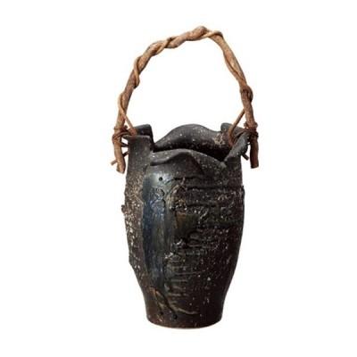 信楽焼傘立「黒ビードロつる付傘立」 しがらき 陶器 和風 玄関 アンブレラスタンド ラック 収納 かさたて カサ立て 色 リフル おしゃれ 送料無料