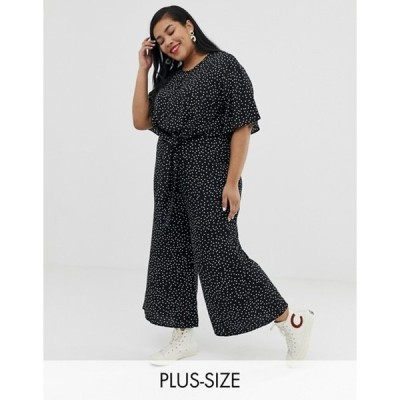 グラマラス レディース ワンピース トップス Glamorous Curve relaxed jumpsuit with tie front in spaced polka dot