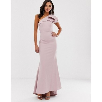 ジャーロ レディース ワンピース トップス Jarlo one shoulder maxi dress with ruffle sleeve in pink