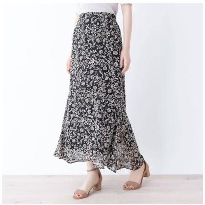 【オペークドットクリップ/OPAQUE.CLIP】 【GISELe6月号掲載】【洗える】アンティーク調フラワーマーメイドスカート