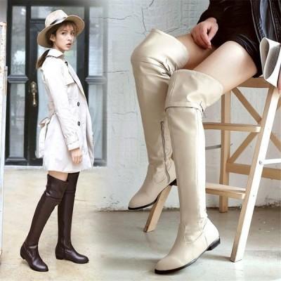 ブーツロングブーツ 可愛いニーハイブーツレディース短靴ローヒールスリッポンシューズ ショートブーツ22cm〜26.5cm/大きサイズパンプス冬靴 結婚式  二次会