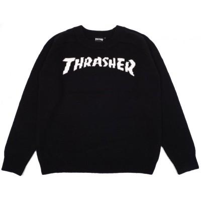 スラッシャー スケートボード マガジンロゴ セーター クルーネック ニット ウール ブラック THRASHER SKATEBOARD MAGAZINE LOGO SWEATER BLACK TH5040W 送料無料