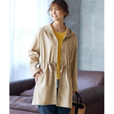 【大きいサイズ】 ゆるシルエット綿混ツイルフード付コート コート, plus size coat