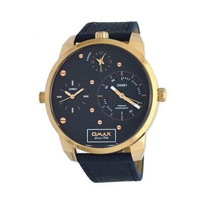 Omax TT01R441 Men's Rose Gold Tone XL Big Size 3 Time Zone Blue Leathe