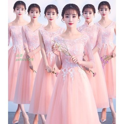 ピンク 編み上げ 花柄 レース 結婚式 パーティードレス ひざ丈 ウェディング 発表会 姫系 6種類選択可能 イブニングドレス パーティー 着痩せ