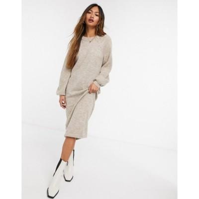 ワイエーエス レディース ワンピース トップス Y.A.S brushed knit midi dress with balloon sleeves in beige