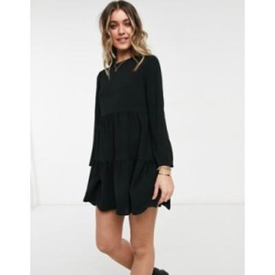 エイソス レディース ワンピース トップス ASOS DESIGN long sleeve tiered smock mini dress in black Black