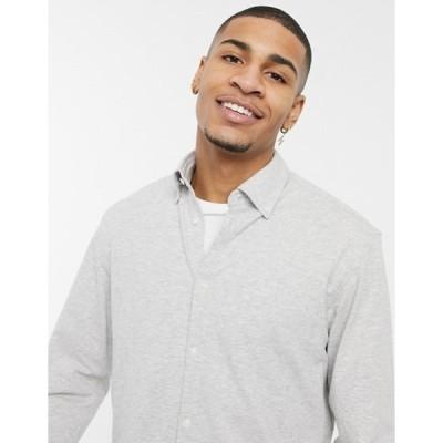 セレクテッドオム メンズ シャツ トップス Selected Homme jersey shirt in gray