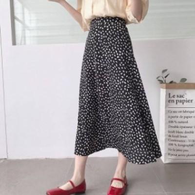 オルチャン 韓国 ファッション レディース スカート フレアスカート ミモレ ロング Aライン ハイウエスト レトロ 大人可愛い