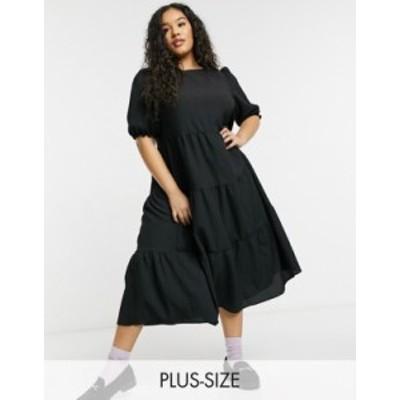 ニュールック レディース ワンピース トップス New Look Curve textured puff sleeve midi dress in black Black