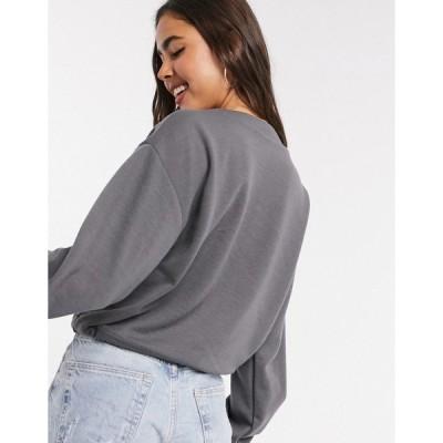 ヴェロモーダ レディース パーカー・スウェットシャツ アウター Vero Moda sweater two-piece with utility pockets and drawstring in gray Gray