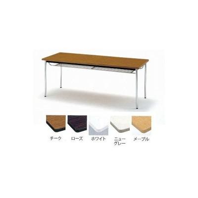 TOKIO【藤沢工業】 ミーティングテーブル(会議用テーブル) 角型天板・エラストマエッジ・棚付・丸脚タイプ TDS-1890TM W1800xD900xH700mm