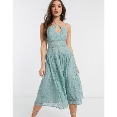 エイソス ASOS DESIGN レディース ワンピース キャミワンピ ワンピース・ドレス cami strap midi prom dress in lace with circle trims ミント