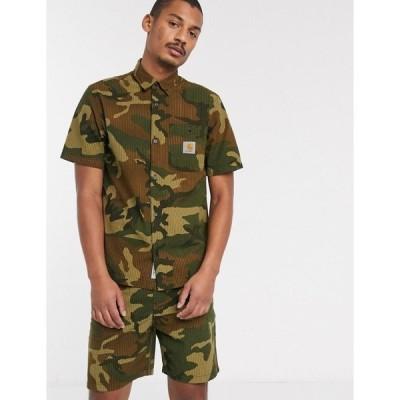 カーハート Carhartt WIP メンズ シャツ トップス Southfield seersucker shirt in camo カモローレル