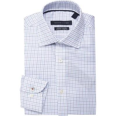 トミー ヒルフィガー Tommy Hilfiger メンズ シャツ トップス Slim-Fit Non-Iron Check Dress Shirt ライトブルー