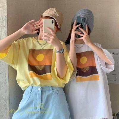 半袖Tシャツ韓国風レディース人気夏丸首上品着痩せトップスゆったりプリント着回しワイドTシャツMおしゃれXLL