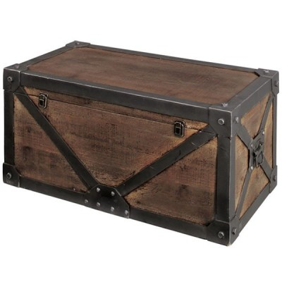トランク レトロ調 宝箱 天然木 Troll 幅82cm Lサイズ ( 収納ケース 収納ボックス 木製 ヴィンテージ )