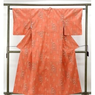 紬 未着用 正絹 花模様 身丈155.5cm 裄丈62cm 紬 未使用 着物