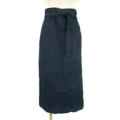 【中古】POOH ボトムス 巻きスカート ラップスカート リネン 麻 ひざ丈 無地 ネイビー 紺  レディース 【ベクトル 古着】