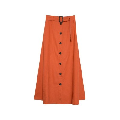 (Re:EDIT/リエディ)ベルト付前ボタン麻スカート/レディース オレンジ
