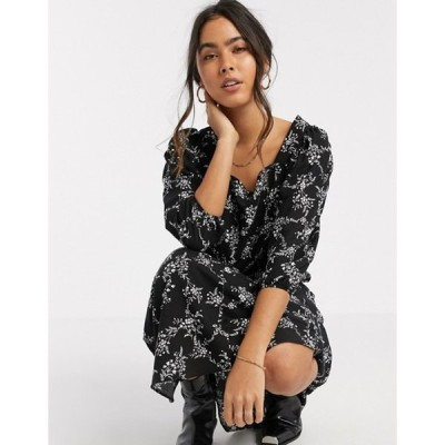 リバーアイランド レディース ワンピース トップス River Island floral midi smock dress in black