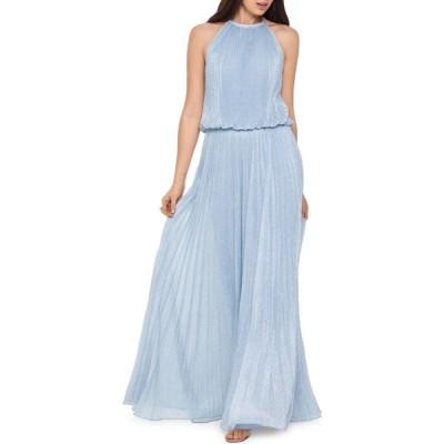 エックススケープ Xscape レディース パーティードレス ワンピース・ドレス metallic pleated gown ブルー
