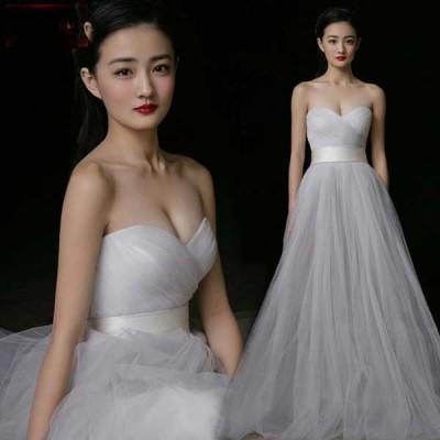 ウエディングドレス 花嫁ブライド ドレス  パーティードレス【結婚式】【披露宴】【パーティー】 エンパイアドレス フリル ドレス