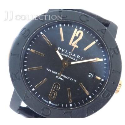 【中古】 ブルガリ メンズ腕時計 ブルガリブルガリ カーボン ゴールド 自動巻き 黒文字盤 BB40CL [wa]
