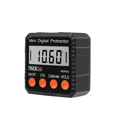 Tacklife MDP02 Advanced Digital Protractor Level/Bevel Gauge/Angle Gauge/Angle Finder with Automatic Shutdown, Magnetic Based, Battery Inclu