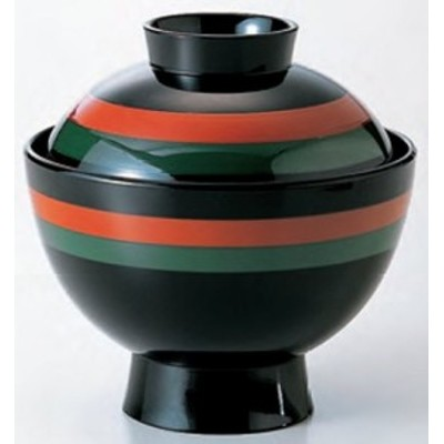 汁椀 蓋付椀 3.5寸 雅小吸椀 黒二色歌舞伎 耐熱ABS樹脂製 食器洗浄機対応 f6-219-8