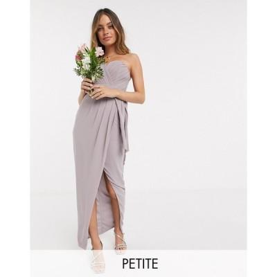 ティーエフエヌシー ミディドレス レディース TFNC Petite bridesmaid exclusive bandeau wrap midaxi dress with pleated detail in grey エイソス ASOS グレー