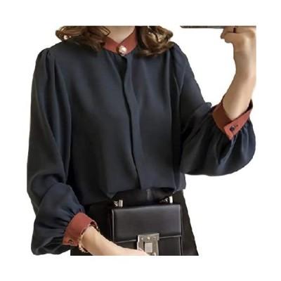 [プライマリーデザイン] ブラウス トップス 襟 長袖 シャツ レディース (ネイビー 2XL)