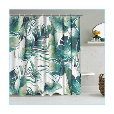 新品Green Leaves Shower Curtain Palm Banana Leaves Tropical Plants Mordern Fabric Shower Curtains for Bathroom Decoration with Hooks Water