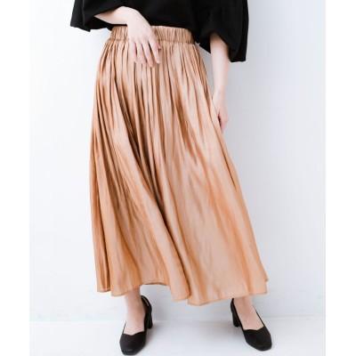 【ハコ】 1枚でも重ね着にも便利なキラキラ素材がかわいいロングスカート by laulea レディース ライト ブラウン M haco!
