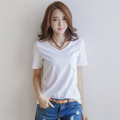 レディース Tシャツ トップス tシャツ 春夏 半袖 Vネック 無地 綿 シンプル ゆったり 大きいサイズ