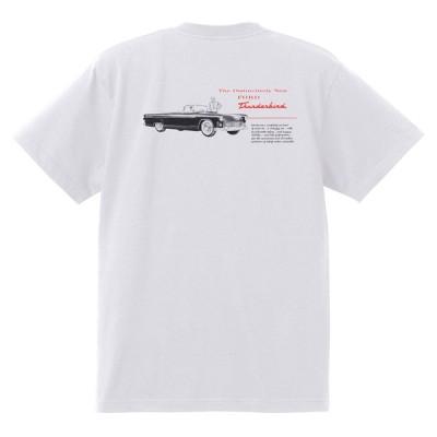 アドバタイジング フォード 893 白 Tシャツ 黒地へ変更可 1955 サンダーバード フェアレーン サンライナー ビクトリア フェアモント