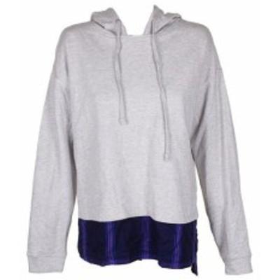 HEATHER  ファッション トップス Sanctuary Grey Heather Navy Blue Layered-Look Long Sleeve Hoodie M