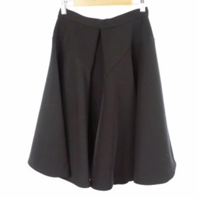 【中古】エンフォルド ENFOLD スカート フレア ミモレ ロング タック バックジップ 36 黒 ブラック /RI21 レディース
