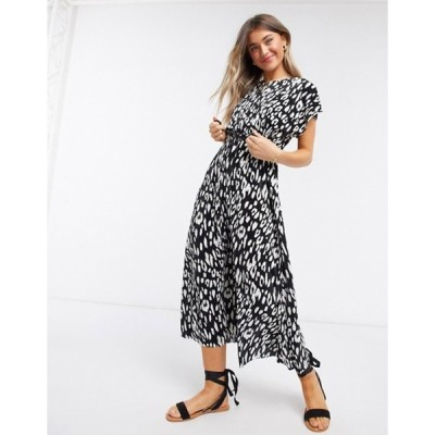 エイソス レディース ワンピース トップス ASOS DESIGN plisse midi dress with cut out back and rope belt in mono animal print
