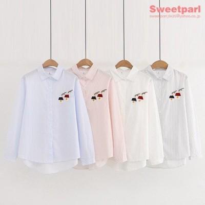 ストライプシャツ カジュアルシャツ トップス シャツ ハウス刺繍 可愛い ゆったり きれいめ レディース 10代 20代 30代