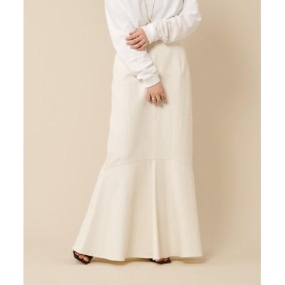 リネン混ペプラムマーメイドスカート