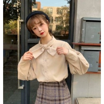 ブラウス シャツ レディース 長袖 韓国 ファッション ボリューム袖 リボン トップス 無地 ゆったり レトロ カジュアル ガーリー 大人可愛