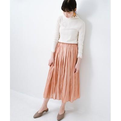 【ハコ】 1枚でも重ね着にも便利なキラキラ素材がかわいいロングスカート by laulea レディース オレンジ M haco!