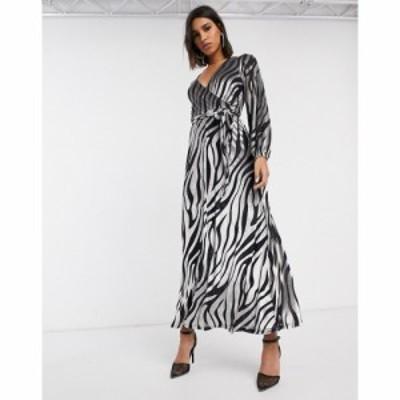 エイソス ASOS DESIGN レディース ワンピース ラップドレス ワンピース・ドレス velvet wrap maxi dress in zebra print ゼブラ