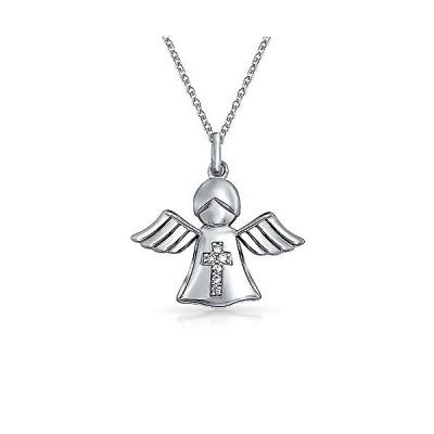 [ブリングジュエリー] CZ シルバー925製 守護天使 エンジェル 天使 十字架 クロス プチ ペンダント ネックレス