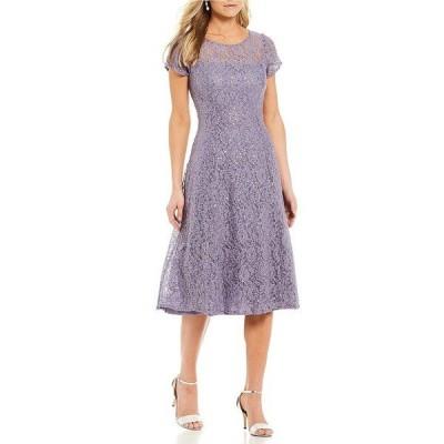 イグナイトイブニングス レディース ワンピース トップス Cap Sleeve Sequin Lace Midi Dress Mystic Heather