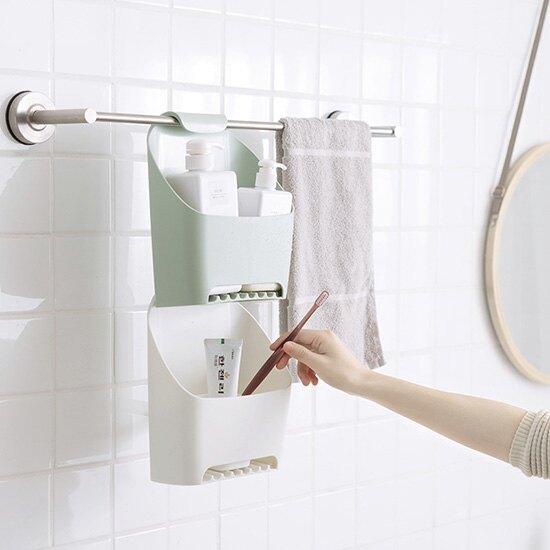 浴室掛式收納盒 可瀝水 免打孔 廁所 置物架 衛生間 毛巾掛籃 ♚MY COLOR♚【A050】