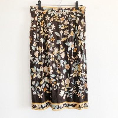 レオナール LEONARD ロングスカート サイズ73 レディース - ダークブラウン×ベージュ×マルチ 花柄【還元祭対象】【中古】20210321